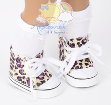 """Cons Sneakers Shoes Boots Cream Ivory/Purple Leopard for 18"""" American Girl Dolls"""