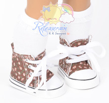 """Cons Sneakers Shoes Boots Brown with Pink Flowers for 18"""" American Girl Dolls"""
