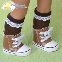 """Cons Sneakers Boots Shoes Patent Faux Leather Brown for 18"""" American Girl Dolls"""