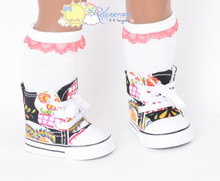 """Cons Sneakers Shoes Boots Fancy Multi Color Skulls for 18"""" American Girl Dolls"""