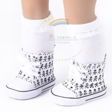 """Cons Canvas Sneakers Shoes Boots Skull White for 18"""" American Girl Dolls"""