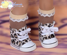 """Cons Sneakers Shoes Boots Faux Fur Leopard Beige for 18"""" American Girl Dolls"""