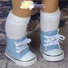 "Releaserain Cons Sneakers Shoes Boots Washed Denim Sky Blue for 18"" American Girl Doll"