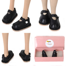 "Releaserain Doll Shoes Mary Jane Shoes Black for 12"" Blythe Pullip Barbie Dolls"