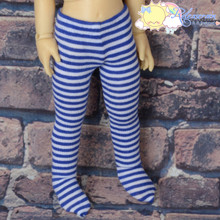 Stretch Knit Pantyhose Stockings Tights Navy Blue With White Stripes for Yo-SD Littlefee BJD Dollfie Dolls