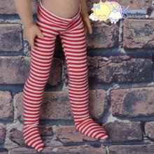"Stretch Knit Pantyhose Stockings Tights Red White Stripes for 12"" Kish Bethany Dolls"