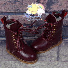 "Martin Stitch Shoes Boots Burgundy for MSD BJD Dollfie Kaye Wiggs 16"" Sasha Dolls"
