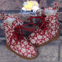 "Martin Stitch Shoes Boots Dark Red Flowers for MSD BJD Dollfie Kaye Wiggs 16"" Sasha Dolls"