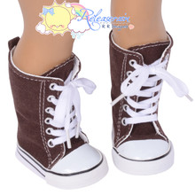 """Doll Shoes Knee High Lace-Up Sneakers Boots Chocolate Brown for 18"""" American Girl"""