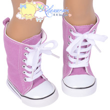 """Doll Shoes Knee High Lace-Up Sneakers Boots Lavender Purple for 18"""" American Girl"""