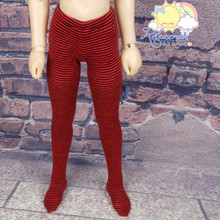 Doll Stockings Stretch Knit Pantyhose Tights Thin Black/Red Stripes for MSD Kaye Wiggs Minifee BJD Dollfie
