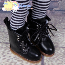 "Doll Shoes Martin Lace-Up Stitching Boots Black for Yo-SD BJD Dollfie, Littlefee, 12"" Kish Dolls"