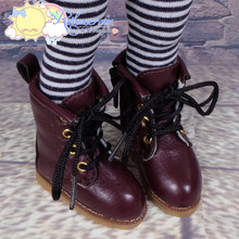 "Doll Shoes Martin Lace-Up Stitching Boots Burgundy for Yo-SD BJD Dollfie, Littlefee, 12"" Kish Dolls"
