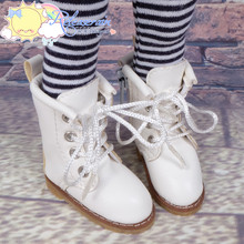 "Doll Shoes Martin Lace-Up Stitching Boots Milky White for Yo-SD BJD Dollfie, Littlefee, 12"" Kish Dolls"