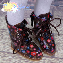 "Doll Shoes Martin Lace-Up Stitching Boots Flowers Chocolate Brown for Yo-SD BJD Dollfie, Littlefee, 12"" Kish dolls"