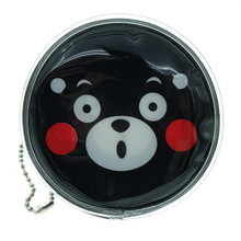 Kumamon Bear Face with Open Mouth Emoji Round Shape Plastic Coin Purse Pouch Wallet Cash Bag Keychain Japan Import