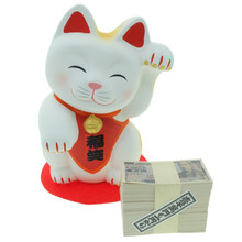 Japanese Hand Painted Handmade 5 Inch Pottery Porcelain Ceramic Lucky Cat Maneki Neko Mascot Left Hand Up Figurine Coin Piggy Bank Coin Money Bank with Red Cloth Mat and Yen Paper Money Currency Banknotes Miniatures Japan Import Made in Japan