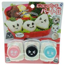 Arnest Niko Niko Seaweed Nori Smiling Punch Cutter Part 2 Emoji Face Japanese Puncher Bento Lunch Rice Ball Sushi Decoration Tool Set of 3 Pieces Japan Import Made in Japan