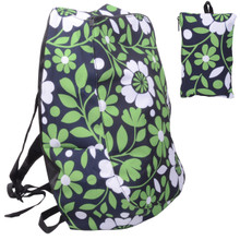Releaserain Ultra Lightweight Handy Waterproof White Green Floral Vines Folding Backpack Daypack Rucksack with Zipped Pouch 14L Packable Foldable Portable Camping Hiking Cycling Sport Outdoor Shopping Carry On Travel Bag