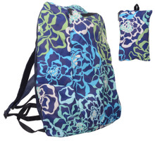 Releaserain Ultra Lightweight Handy Waterproof Navy Blue Sea Kelp Flower Folding Backpack Daypack Rucksack with Zipped Pouch 14L Packable Foldable Portable Camping Hiking Cycling Sport Outdoor Shopping Carry On Travel Bag