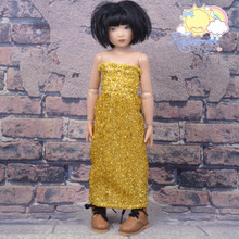 "Doll Clothes Outfit Metallic Glitter Gold Dress Strapless Shirred Top Sundress for 16"" Tonner Tyler Ellowyne 14"" Kish Slim BJD MSD Minifee"