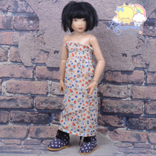 """Doll Clothes Outfit Floral Chiffon Dress Strapless Shirred Top Sundress for 16"""" Tonner Tyler Ellowyne 14"""" Kish Slim BJD MSD Minifee"""