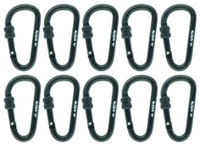 "7cm/2.8"" 10 Pieces Aluminum Alloy Black D-Ring Lock Hiking Screw Gate Locking Carabiners Clip Keychain Hook Travel Outdoor Buckle for Camping Fishing Hiking"