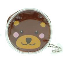 Cute Animal Bear Round Shape Plastic Coin Purse Pouch Wallet Cash Bag Ball Chain Keychain Japan Import