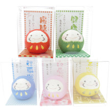 Japanese Handmade Hand Painted Paper-Mache Washi Paper Art Craft Feng Shui Daruma Miniature Doll Luck Blessing Statue Figurine Set of 5 Colors Japan Import Made in Japan