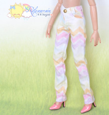 "16"" Fashion Doll Clothes Jeans Pants Pastel Herringbone Denim for Tonner Tyler Ellowyne Wilde"