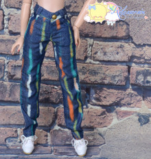 "16"" Fashion Doll Clothes Jeans Pants Graffiti Dash On Denim Blue for Tonner Tyler Ellowyne Wilde"