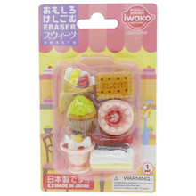 Iwako Japanese Eraser Dessert Sweets (Biscuit, Cupcake, Crepe, Sundae, Round Cake, Loaf Cake) Miniatures Set of 6 Pieces Japan Import Made in Japan