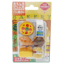 Iwako Japanese Eraser Bakery (Pizza, Donut, Croissant, Bread, Cream Puff, Milk) Miniatures Set of 6 Pieces Japan Import Made in Japan
