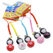 Rakutokan Kokeshi Sakura Floral Yukata Kimono Girl Miniature Doll Japanese Traditional Jingle Bell Phone Charm Strap Keychain 5 Pieces Set Japan Import Made in Japan