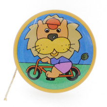 60s Vintage Tin Yo-Yo Toy With Rattle Bell Inside Lion Riding Bike Made in Japan
