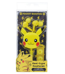 Gourmandise Pocket Monsters Pokemon Pikachu 3.5mm Stereo Reel-Type Earphones Earbuds In-Ear Headphone Headset Original Yellow Color Japan Import