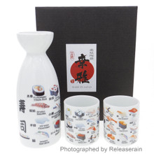 Japanese Sushi White Porcelain Ceramic Sake Flask Bottle Cups Set Made in Japan