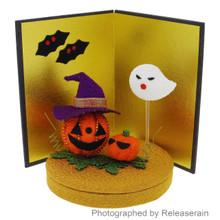 Japanese Traditional Folk Art Crepe Halloween Pumpkin Decor Figure Made in Japan