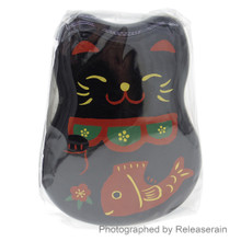 Hakoya Kuro Beckoning Lucky Cat Maneki Neko Two-Tier Bento Lunch Box (Black Color) with Fork and Bento Belt Japan Import