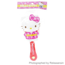 Unique Sanrio Hello Kitty Diecut Japanese Kimono Cushion Hair Brush Japan Import