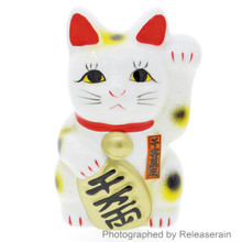 "5"" White Tokoname Ceramic Maneki Neko Left Hand Up Lucky Cat Piggy Bank Made in Japan"