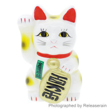 "5"" White Tokoname Ceramic Maneki Neko Right Hand Up Lucky Cat Piggy Bank Made in Japan"