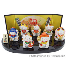 Nishiki Ceramic Seven Maneki Neko Lucky Cats Shichifukujin Figurines S Made in Japan