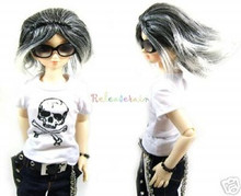 Mix Black/W Wind Short 7-8 Wig for MSD BJD Dollfie Ellowyne Wilde Dolls