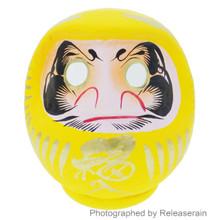Japanese Takasaki Handcrafted Paper Mache 12cm Yellow Daruma Doll Made in Japan
