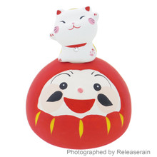Craftman House Japanese Ceramic Red Daruma & Maneki Neko Lucky Cat Figurine Set Japan Import