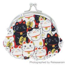 Japanese Maneki Neko Lucky Cat Kisslock Cotton Coin Purse Bag Made in Japan