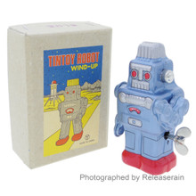 Japanese Retro Vintage Antique Litho Tin Toy Wind-Up Robot Blue Made in Japan