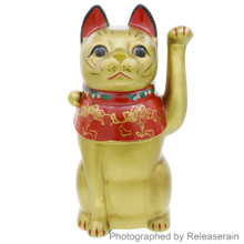 Japanese Large size 26cm Gold Ceramic Large Maneki Neko Lucky Cat Figurine Made in Japan