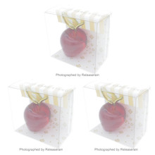 Artha 3D Lucite Clear Red Apple Fruit Card Stand Place Card Holder Set of 3 Pieces Japan Import